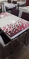 """Комплект кухонний стіл і стільці """"Бордова мозаїка"""" МДФ гартоване скло 70*110 (Лотос-М), фото 1"""