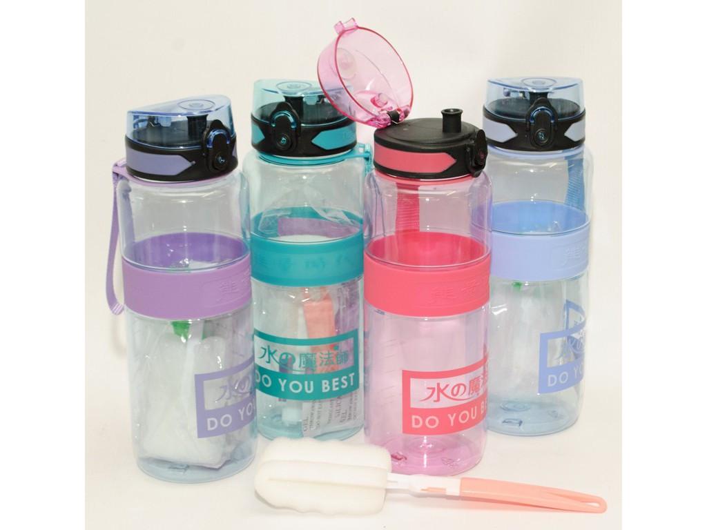 Пляшка 1 л пластик з поїлкою + щітка для миття в подарунок