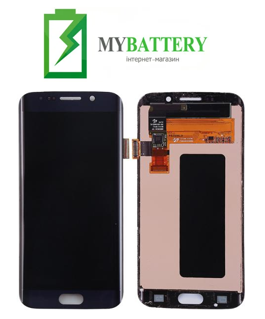 Дисплей (LCD) Samsung GH97-17162A G925F Galaxy S6 Edge с сенсором черный с рамкой сервисный