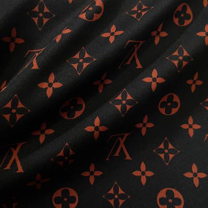 Трикотаж дайвинг принт LV на черном, фото 2