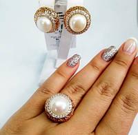 Позолоченое серебряное кольцо с жемчугом Лаура