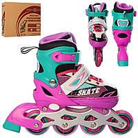 Детские роликовые коньки A 4123-S-PGR Profi. Размер обуви: 31, 32, 33, 34. Цвет: розово-зеленый