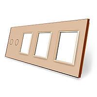 Сенсорная панель выключателя Livolo 2 канала и трех розеток (2-0-0-0) золото стекло (VL-C7-C2/SR/SR/SR-13), фото 1