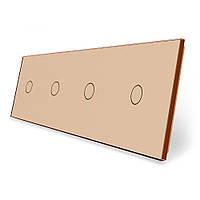 Сенсорная панель выключателя Livolo 4 канала (1-1-1-1) золото стекло (VL-C7-C1/C1/C1/C1-13), фото 1