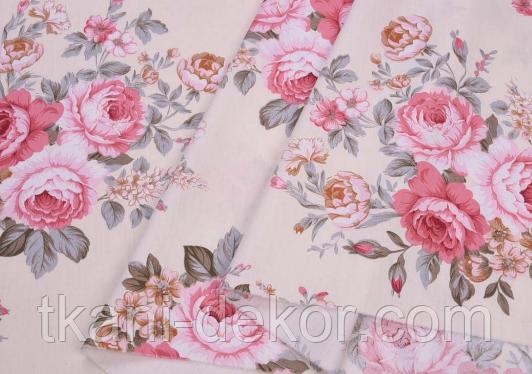 Сатин (хлопковая ткань) розы розово-бежевые (новые) (85*160)