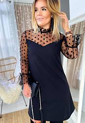 Платье Ткань-креп-дайвинг+сетка Размеры 42/44 44/46 . Цвет: черный (6004)