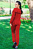 Женский стильный спортивный костюм красного цвета, фото 2