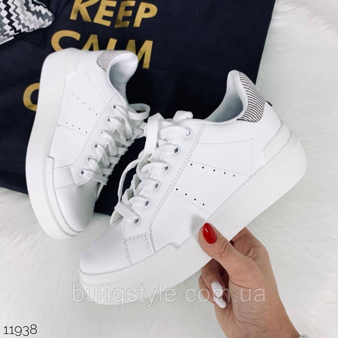 36 размер 23 см Женские белые кроссовки с серым задником эко-кожа на платформе