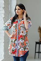 Яскрава літня жіноча батистова туніка з різнокольоровим квітковим принтом №2045