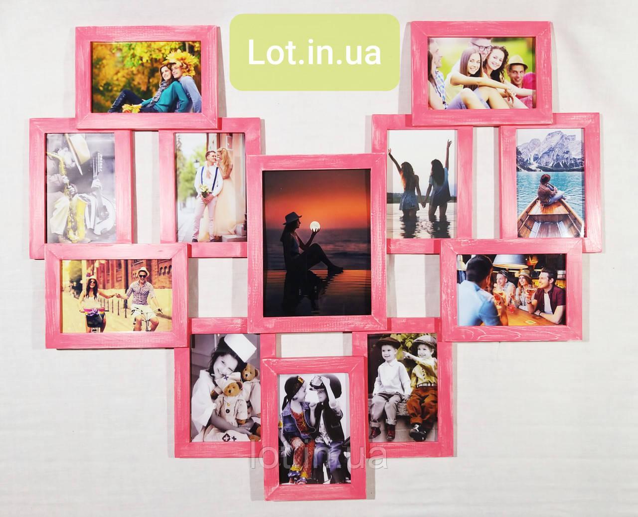 """Мультирамка Lot 812 """"сердце"""", дерево, розовый """"винтаж"""", венге, бесцветный, белый, чёрный, орех, серый."""