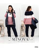 Женский весенний спортивный костюм тройка, жилетка+ кофта + брюки больших размеров Р 50-52,54-56,58-60,62-64