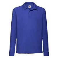 Детская футболка Поло с длинным рукавом Унисекс Fruit of the loom Fruit of the loom ярко-синий
