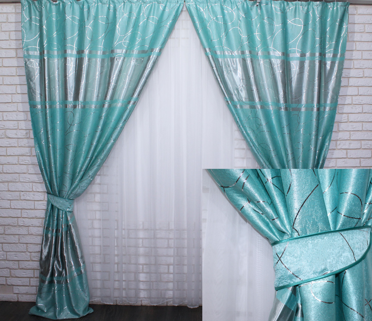 """Комплект готовых штор из ткани блэкаут софт """"Лиана"""". Цвет бирюзовый 464ш"""