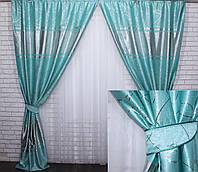 """Комплект готовых штор из ткани блэкаут софт """"Лиана"""". Цвет бирюзовый 464ш, фото 1"""