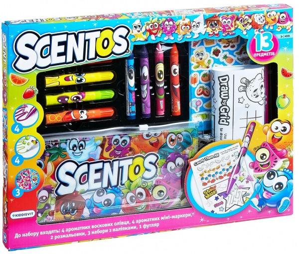 Ароматный набор для творчества Scentos - Забавная компания (маркеры, восковые карандаши, наклейки, раскраска)