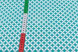 Ткань с сеткой из лепестков зелёно-бирюзового цвета (№224а), фото 3