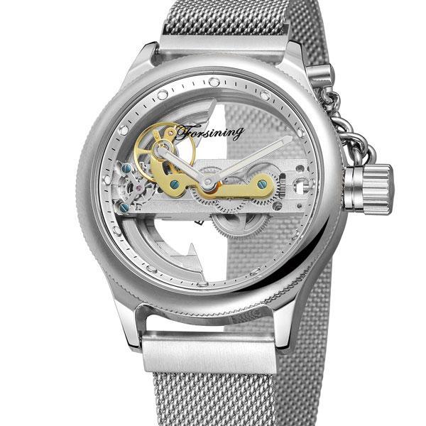 Forsining metal мужские механические часы скелетон