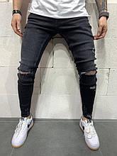 Мужские зауженные рваные джинсы (черные) - Турция