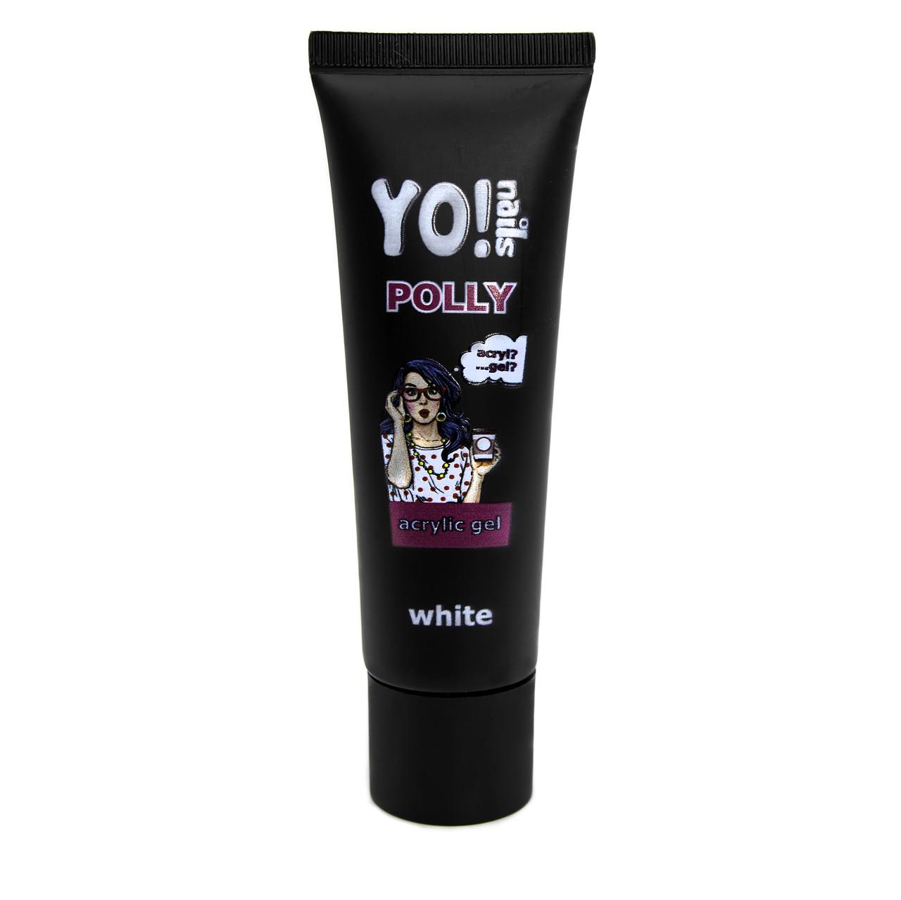 Полигель, акриловый гель Yo!Nails POLLY, цвет White, молочно-белый, 30 грамм