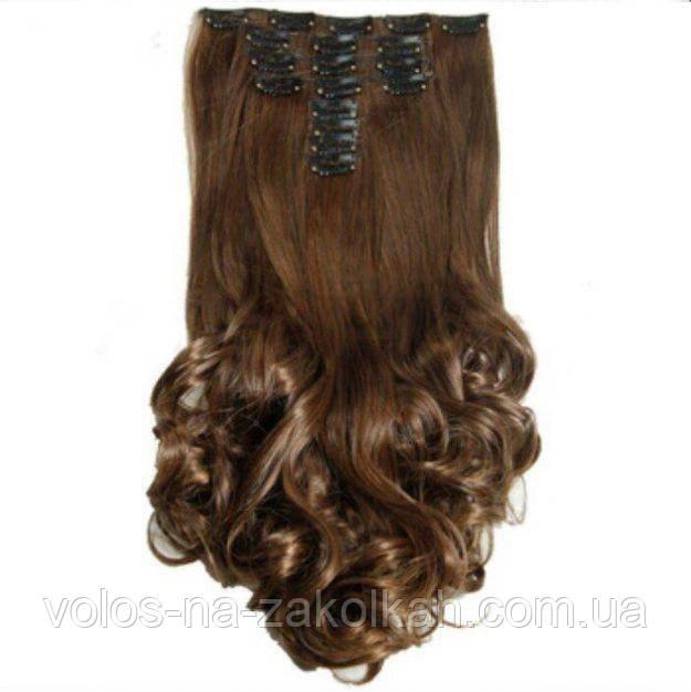 Волосы на заколках волнистые темно русый