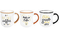 "Кружка фарфоровая  ""Coffee"" 380мл, 3 вида , набор 6шт"