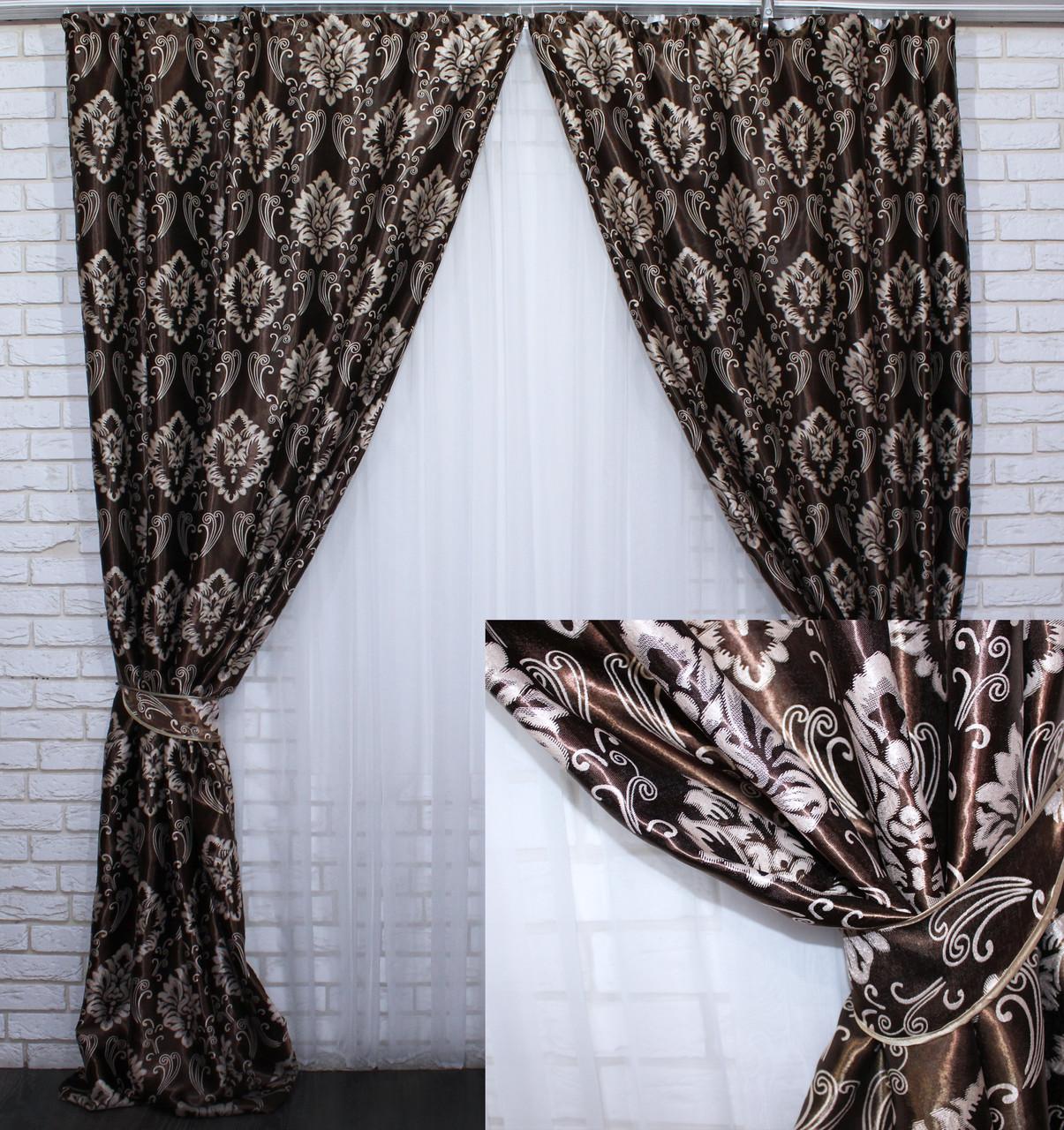 "Комплект готовых штор  блэкаут, ""Корона Версаль"". Цвет коричневый 468ш (А)"