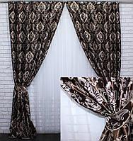 """Комплект готовых штор  блэкаут, """"Корона Версаль"""". Цвет коричневый 468ш (А), фото 1"""