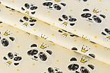 """Отрез сатина """"Мордочка панды с жёлтой короной"""" на ванильном №2147с, размер 60*160 см, фото 2"""