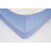 Простынь на резинке трикотажная Lotus 100х200 голубая