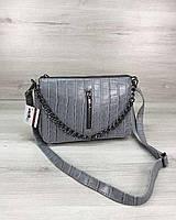 Серо-голубая сумка-клатч 57808 с ремешком через плечо, фото 1