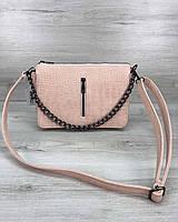 Розовая сумка-клатч 57806 пудровая летняя молодежная через плечо, фото 1