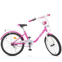 Детский велосипед малиновый PROF1 Flower Y2082 качественный с багажником звонком катафотами