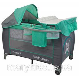 Манеж-кровать Baby Mix De Luxe HR-8052-301 Mint 2-х уровневый