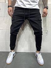 Мужские зауженные джинсы со шнурками (черные) - Турция