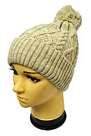 Зимняя шапка с широким отворотом и помпоном