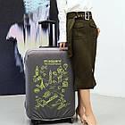 Чехол на чемодан (L) (серый с принтом), фото 4