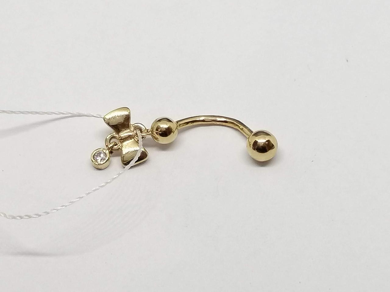 Золотая серьга-пирсинг с фианитом. Артикул ПС118И