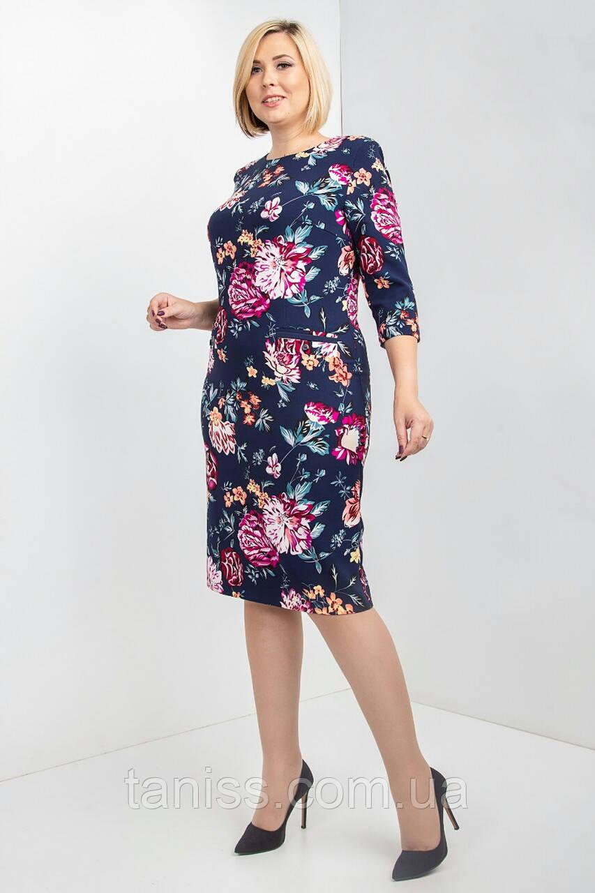 """Женское,стильное,повседневное платье """"Фрея"""", ткань костюмная, размеры 54,56 (023) синий,сукня"""