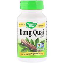 """Корень дягиля лекарственного Nature's Way """"Dong Quai Root"""" для женского здоровья, 565 мг (100 капсул)"""
