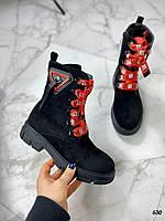 Осенние короткие ботинки DGG красные ремни, фото 1