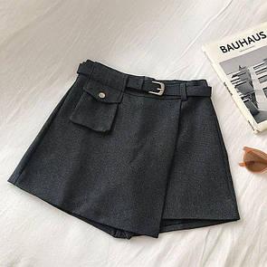 Женская юбка - шорты с ремешком и маленьким карманом 68si350
