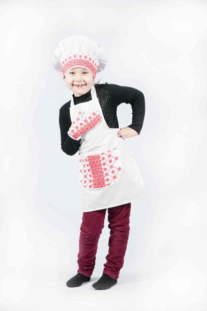 """Костюм """"Маленький кухар Люкс"""" (фартух, ковпак, прихватка) з черв. вставками. АКЦІЯ -25% до 03.04.20"""