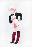 """Костюм """"Маленький кухар Люкс"""" (фартух, ковпак, прихватка) з черв. вставками. АКЦІЯ -25% до 03.04.20, фото 1"""