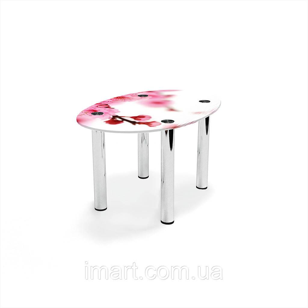 Журнальный стол овальный Sakura стеклянный