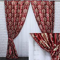 "Шторы (2шт 1.5х2.7м) из ткани блэкаут-софт коллекция ""Корона Версаль"".Цвет бордовый с бежевым . 470 (А) 30-210"