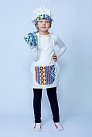 """Костюм """"Маленький кухар Люкс"""" (фартух, ковпак, прихватка) з синіми вставками. АКЦІЯ -25% до 03.04.20"""