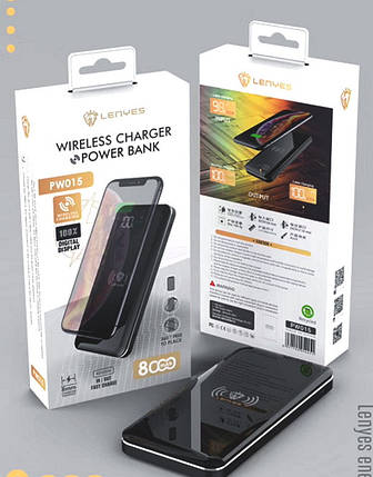 Беспроводное зарядное устройство + Power bank 8000mAh LENYES PW015, фото 2