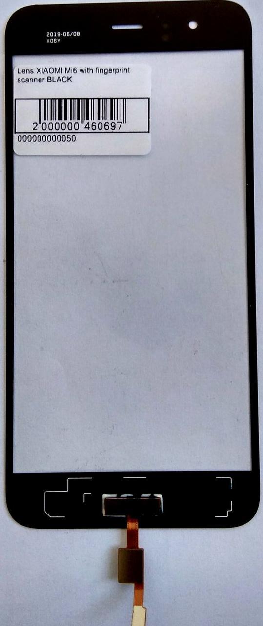 Стекло модуля со сканером отпечатка пальца для Xiaomi Mi6 черный