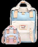 Рюкзак Doughnut бежевый + сумочка Doughnut в подарок Код 10-5206