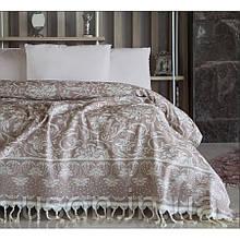 Покрывало хлопковое махровое c бахрамой 240*250 ТМ Irya Alisson beige